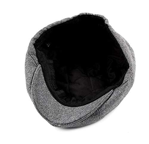 B GLLH Edad de Gorras Terciopelo de qin octogonales de Moda Hombre e de cálidas D Mediana Sombreros otoño y Invierno de de Gorros Lana Gorras hat Boinas SrAqS