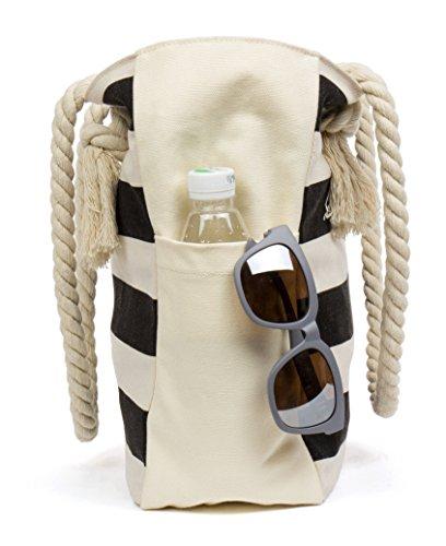nbsp;travel Canvas Stripes Rope nbsp;bag Bag nbsp;shoulder Black Cotton nbsp;tote Handle With Malirona Large nbsp;beach RxnaaE
