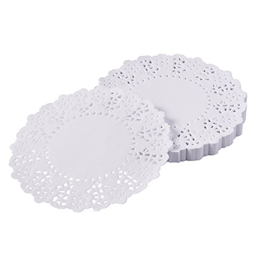 eBoot 4.5 Inches Doilies White Lace Paper Doilies Round Cake Packaging Pads, (Round White Doily)