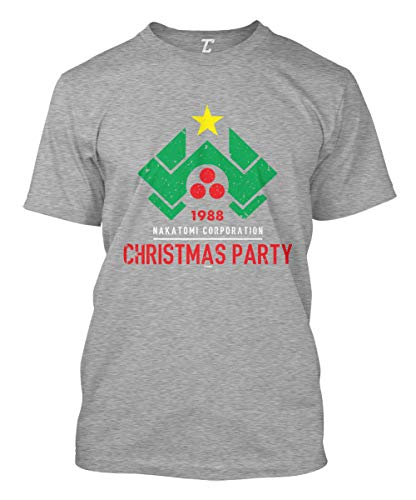 1988 Nakatomi Christmas Party - Xmas Men's T-Shirt (Light Gray, X-Large) (The Cold Light Of Day Bruce Willis)