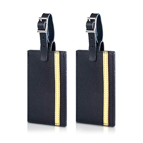 GZ Leather Luggage Tags Privacy Suitcase Labels Travel ID Baggage Tags Handbag Tag Travel Accessories (2 PCS Black&Yellow)