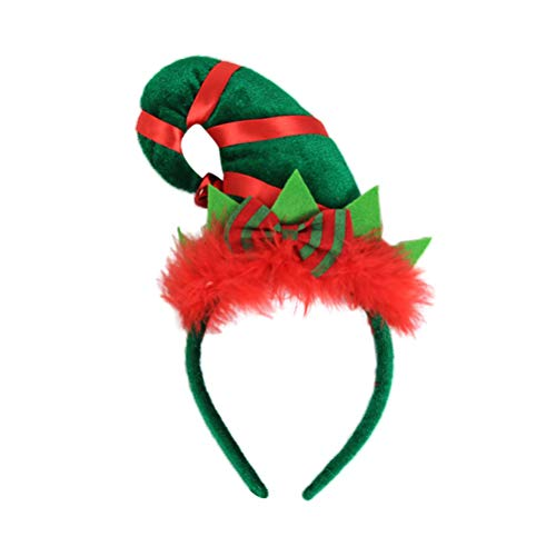 BESTOYARD Christmas Elf Hat Headband Brightly Colored Fabric Headband with Jingle Bell on The Top