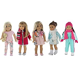 "American Girl Doll Winter Clothes - 5 Outfit Holiday / Winter Set for American Girl Doll or 18"" Dolls - Clothes Includes Holiday Party Dress, Ski Outfit, Ice Skating Outfit, Pajamas and More!"