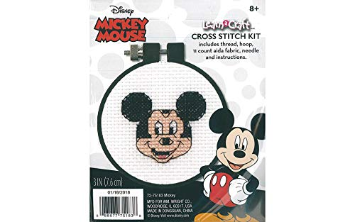 Dimensions Disney Mickey Mouse Counted Cross Stitch Kit for Beginners, 11 Count White Aida, -