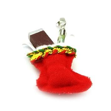 Dollshouse Miniature ~ RED /& GOLD ~ 3 Xmas Stockings