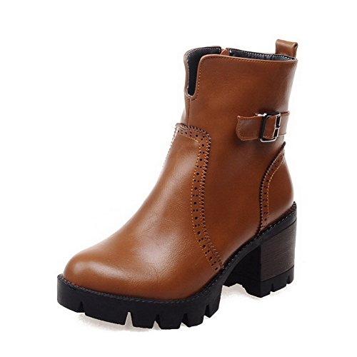 Women's Low-Heels Round Closed Toe Pu Low-Top Solid Zipper Boots Brown-Metal Nail 41
