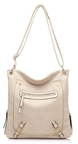 Grande borsa zip frontale effetto e una tasca con cerniera Messenger Croce Corpo Borsa a tracolla Beige (BH465)
