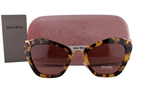 Yellow Havana Sunglasses (Miu Miu MU10NS Sunglasses Yellow Havana w/Bordeaux Lens 7S00A0 SMU10N For)