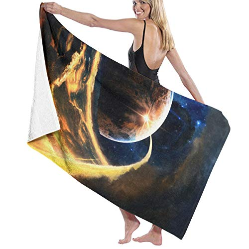 Cooby Roman Microfiber Bath Towel for Daily Use - Astronomy Universe Planets Illustration Quick Dry Super Absorbent Beach Towels for Adults, Swim, Water Sports, SPA and Beach Holidays