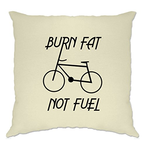 Tim And Ted Eco Friendly Cushion Cover Burn Fat, Not Fuel - Cycle Logo Natural One Size