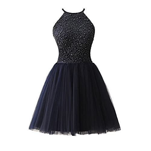 Ubridal Short Beading Keyhole Back Tulle Homecoming Dresses Prom Gowns navy 2