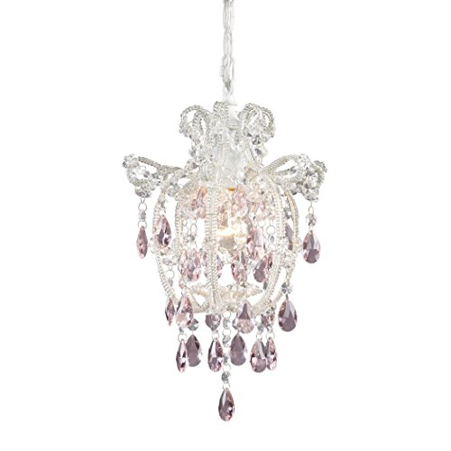 Light 1 Pendant Elise - Alumbrada Collection Elise 1 Light Pendant In Antique White And Pink Crystal