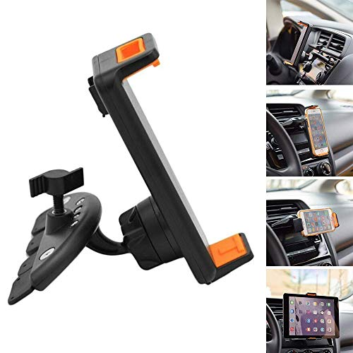 CHAMPLED 2-in-1 Phone & Tablet Holder Mount for Car CD ROM Dash Slot Drive Reader Tray Player Universal Cradle Stand fits CHRYSLER 200 300С 300M Crossfire Grand Voyager Pacifica PT Cruiser Sebring LHS ()