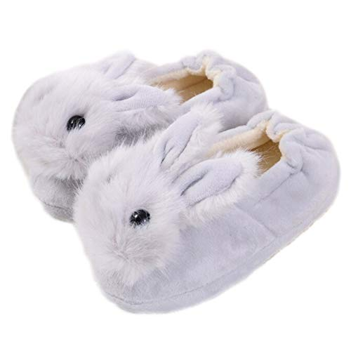 - Toddler Boys Girls Rabbit Bootie Slippers Soft Plush Warm Cartoon Bunny Non-Slip Winter House Shoes Grey