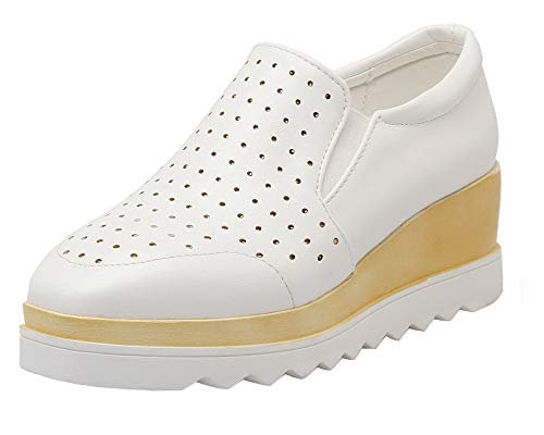 Agoolar Talon Pu Gmbdb013318 Femme Blanc Unie Tire Légeres À Cuir Correct Couleur Chaussures qxrFqRtn