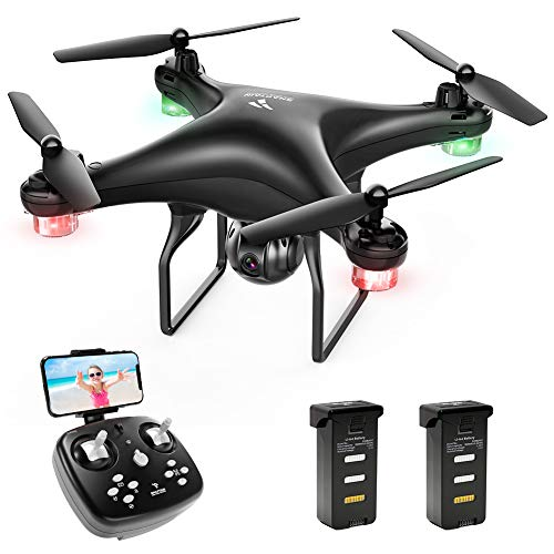 SNAPTAIN SP600 WiFi FPV Drone with 720P HD Camera, Voice Control, Gesture Control, Gravity Control, RC Quadcopter with Altitude Hold, Headless Mode, One Key Take Off/Landing/Return and VR Mode (Best Quadcopter With Camera Under 100)