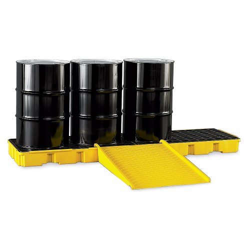 Eagle 1647D Yellow 4 Drum In Line Containment Platform with Drain