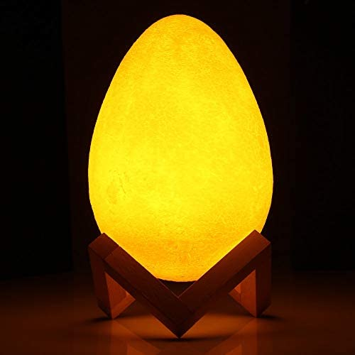 XHSHLID 20 cm 3D Impression Oeuf lumière Nuit Lampe Pat 3 Couleurs 1.85W veilleuses avec Batterie Cadre en Bois pour Chambre étude Salon Chambre