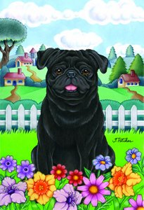 Pug Black - Tomoyo Pitcher Spring Garden Flag