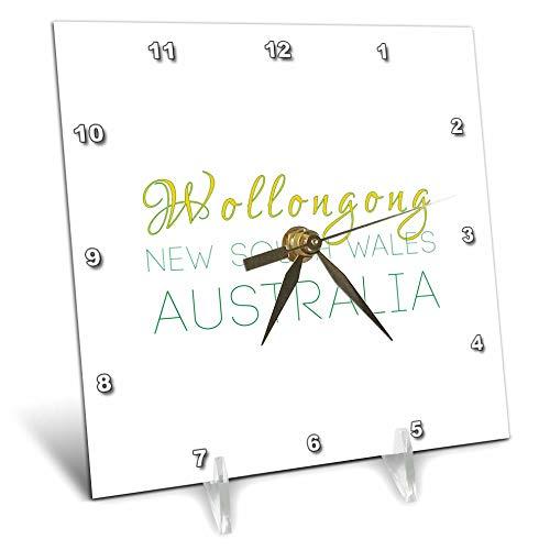 3dRose Alexis Design - Australian Cities - Wollongong New South Wales Patriotic Australia Home Town Design - 6x6 Desk Clock ()