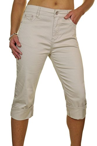ICE (1512-1) Plus Size Turn Up Crop-Stretch-Jeans Chino Sheen Beige