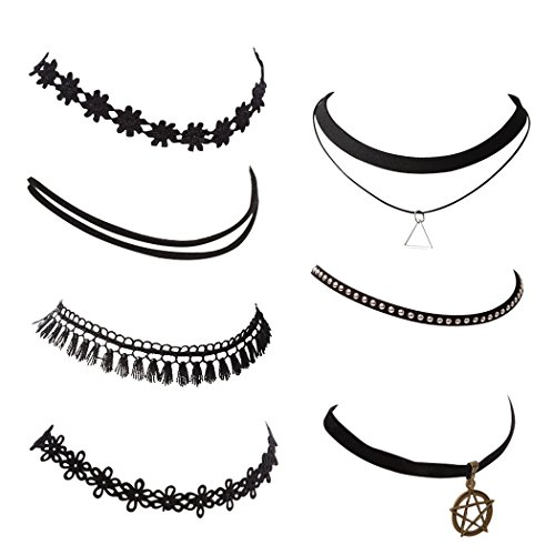 [Snowman Lee 7 Pieces Black Tattoo Velvet Vintage Choker Necklace] (Womens Homemade Snowman Costume)