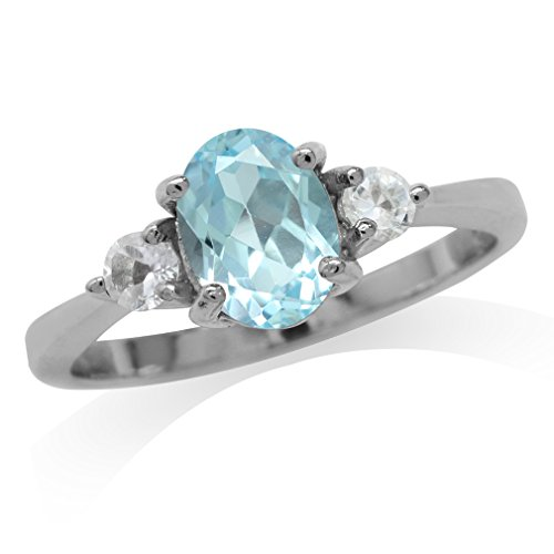 Silvershake 1.58ct. Genuine Blue Topaz White Gold Plated 925 Sterling Silver Engagement Ring