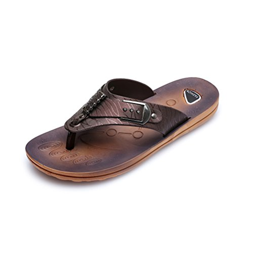 Jazlyn Heren Engeland Cacual Zachte Metalen Gesp Platte Flip Flop Sandalen Shoes032-brown