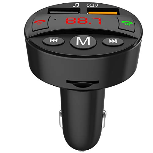ANREONER Stereo Bluetooth FM Transmitter for Car, Wireless in-Car FM Radio Adapter Kit, Hands-Free Calling, Dual USB Ports, Music Play, QC3.0 Quick Charge, Built-in Mic, Supports TF Card & USB Disk