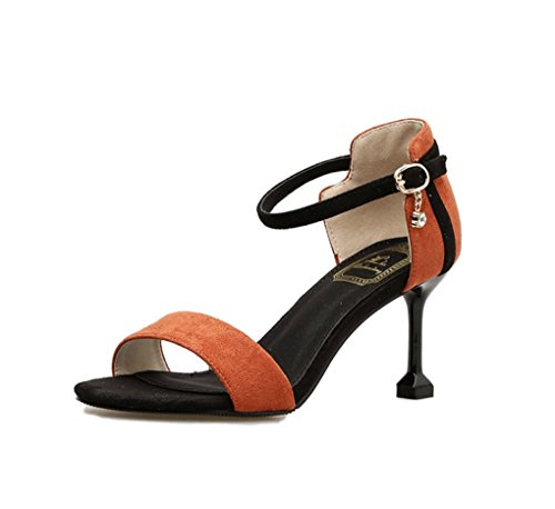 HJHY® Sexy Zapatos de Tacón Alto de Verano con Punta Abierta Colorblock Sandalias de Moda Sexy de Tacón Fino Sandalias con Punta Abierta #3