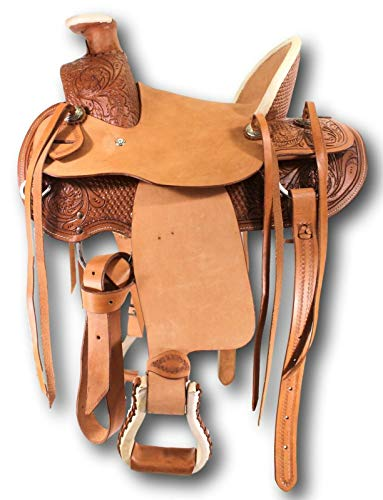 D.A. Brand Kid's 12″ Tooled Leather Wade Pony Saddle Horse Tack Equine