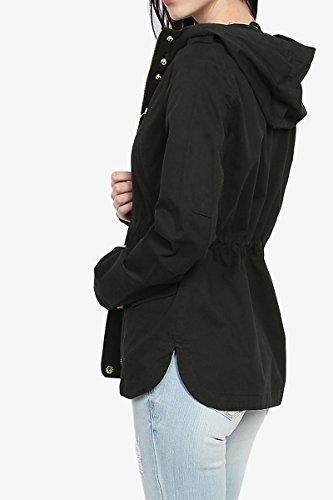 915523edf1c TheMogan Cotton Twill Drawstring Waist Hooded Anorak Military Utility Jacket