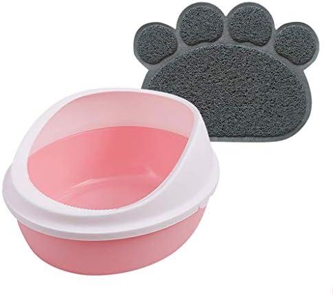 ペット用品マットとスクープトイレパン付き猫用トイレボックス防滴便器ペット用トイレトレイハイリム(色:ピンク、サイズ:中)