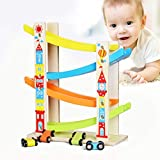 Boy and Girl Gifts Wooden Race Track Car Ramp Racer with 4 Mini Cars Toddler Toy by Vovomay