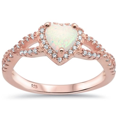 Oxford Diamond Co Sterling Silver Heart Halo Simulated Gemstone Promise Ring All Colors Available