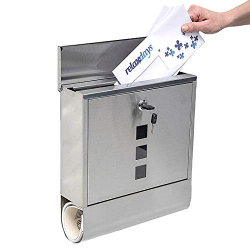 Stainless Steel Wall Mount Lockable Mailbox Vertical Locking Rust Proof Post Box Letterbox with Newspaper Holder for Modern Houses Front Porch Residential Outdoor Rural Roadside ()