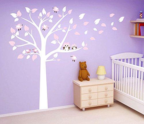 Casefan cute owls on tree wall stickers mural paper for for Diy tree mural nursery