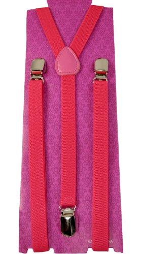 Men's Unisex Clip-on Braces Elastic Slim ''Pink'' Suspender Y-shape Ajustable