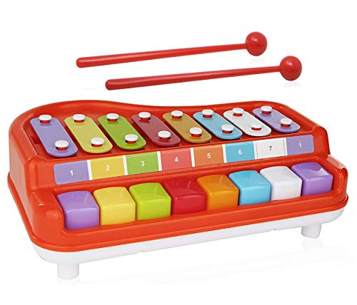 (2 In 1 Xylophone for Kids, For your Mini Musician / Piano / Casio Musical Toy, Bright Multi-Colored Keys, Instrument for Babies, Toddlers and Preschoolers, With  Music Cards Songbook )