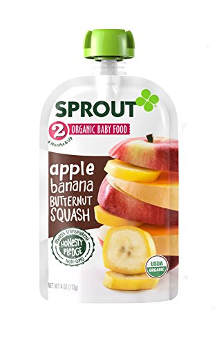 Sprout Organic Baby Food Pouches Stage 2 Sprout Baby Food, Apple Banana Butternut Squash, 4 Ounce (Pack of 10); USDA Organic, Non-GMO, Made with Whole Foods, No Preservatives, Nothing Artificial