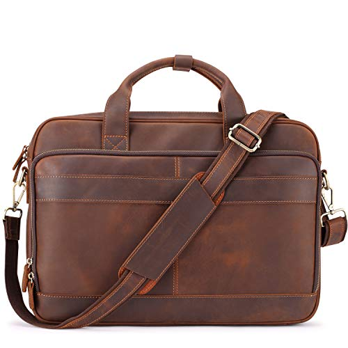 - Jack&Chris Men's Genuine Leather Briefcase Messenger Bag Attache Case 15.6
