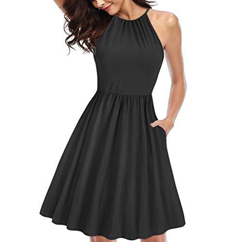 (Women Mini Dress Sleeveless High Waist Slim Fit Flare Skater Mini Tank Dress Above Knee Length Short Dress with Pocket Black)