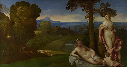 Oil Painting 'Imitator Of Giorgione Nymphs And Children In A Landscape With Shepherds' 18 x 34 inch / 46 x 87 cm , on High Definition HD canvas prints, gifts (English Restoration Theatre Costumes)