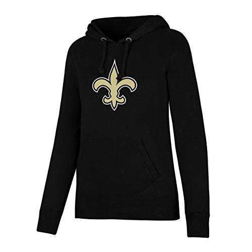 NFL New Orleans Saints Women's OTS Fleece Hoodie, Jet Black, X-Large (Saints New Jacket Orleans Pullover)
