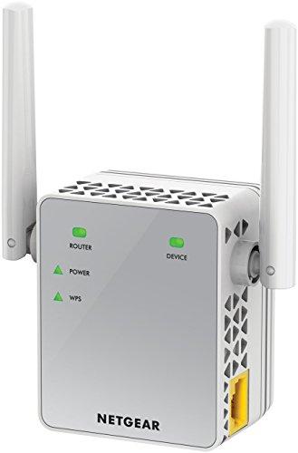 NETGEAR EX3700-100PES AC750 Universal WLAN Repeater (RJ-45, 750Mbit/s, An/Aus Schalter) weiß/silber