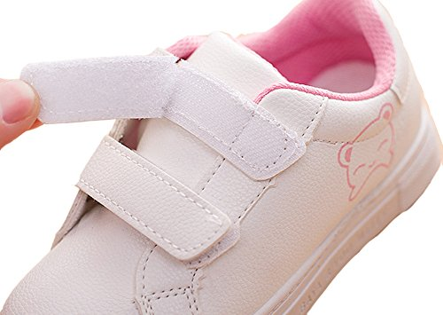 VECJUNIA Mädchen Jungen Mode Karikatur Bär PU Leder Leicht Turnschuhe Süßigkeitfarbe Schule Schuhe Unisex Kinder Sportschuhe Weiß
