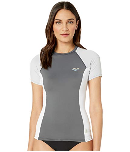 - O'Neill Wetsuits Women's Premium Skins UPF 50+ Short Sleeve Rash Guard, Graphic/White/Cool Grey, Medium