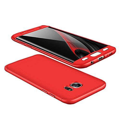無臭クラッシュ請求可能Galaxy S7 Edgeケース 360°フルカバー 3パーツ式 耐衝撃 ぴったりフィット ストラップホール付 軽量 防指紋 カメラ擦り防止 業界 全面保護カバー (強化硝子フイルム含めません) (レッド)