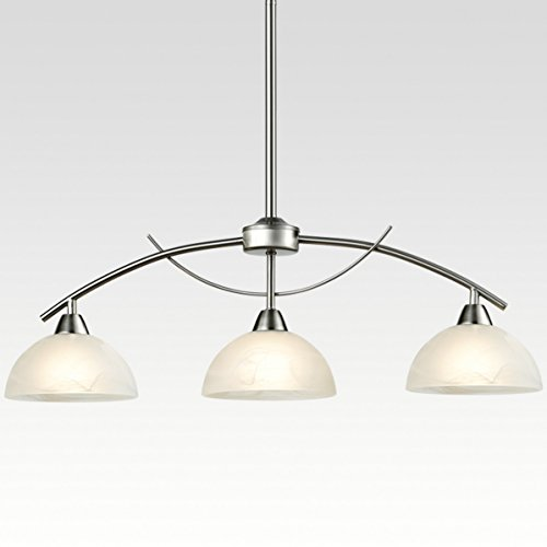 Traditional 3 Light Island (Dazhuan Modern Frosted Glass Shades Pendant Light Arched Alabaster Chandelier Kitchen Counter Island Hanging Ceiling Lighting, Brushed Nickel, 3-Light)