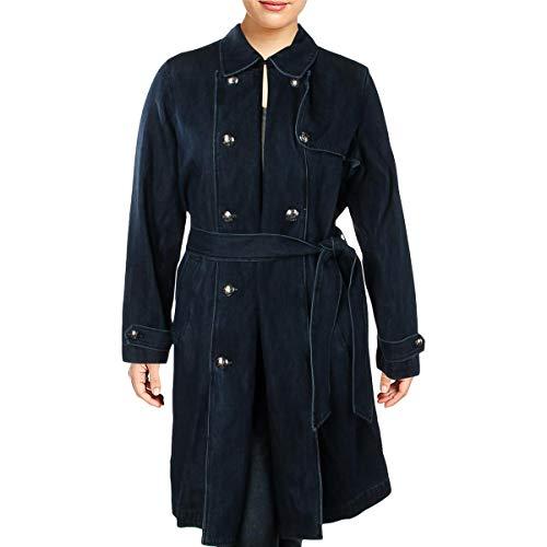 LAUREN RALPH LAUREN Womens Fall Denim Trench Coat Blue 18 (Faux Leather Trim Trench Coat Ralph Lauren)